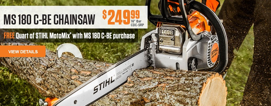 Free Quart of STIHL MotoMix with MS 180 C-BE chainsaw purchase